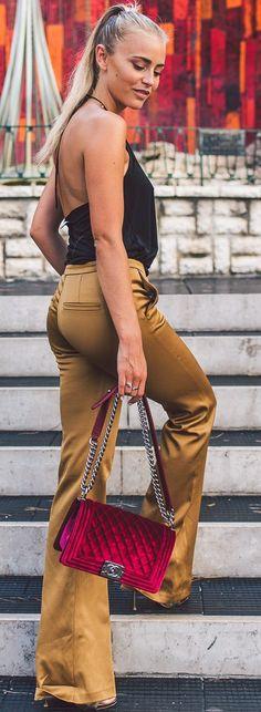 Janni Deler Golden Flares Fall Street Style Inspo