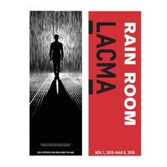 This street banner from the Rain Room exhibition at LACMA shows what one might actually experience when inside Random International's immersive Rain Room (2012) Front of banner - Rain Room photograph