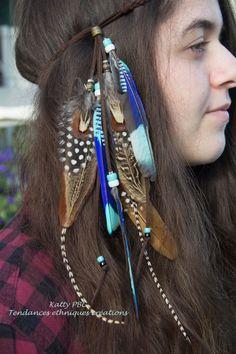 Headband  Bijou de cheveux plumes Jacy par Tendancesethniques