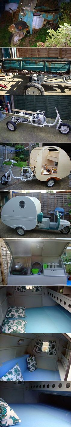 Here are some creative pictures of an old scooter that was transformed into a livable mobile home.