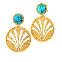 CHIC 'JOSEPHINA' EARRING 18k Yellow Gold w/ Turquoise and Diamonds - Designed by Brandon Love