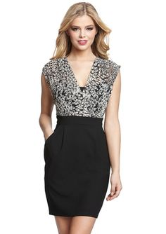 MAX AND CLEO V-Neck Twofer Dress- sexy little dress, especially if you have curves