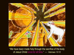 ONCE AND FOR ALL  Created by LiLi Pham from NBCC using colored markers.  The drawing depicts the stone rolled away with a lamb looking into the tomb. Jesus was the final sacrificial Lamb. Before Jesus died for our sins, people reconciled their sins with God by sacrificing a lamb's life with its blood because in the Bible it says that without shedding of the blood, there is no forgiveness. The lamb in this picture symbolizes hope and life because it does not have to worry about being…