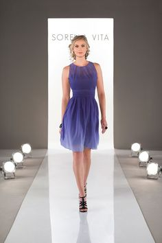 An elegant A-line cocktail length dress in Chiffon with illusion neckline and a ruched waistband. Sorella Vita does it again.