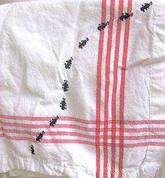 Picnic Ants Linen Napkins Set of Four Black by Wherethefishlive, $24.00