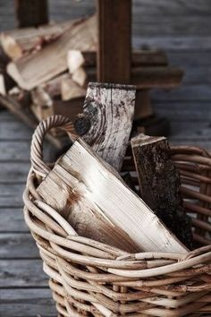 Basket of Firewood Country Life, Country Living, Country Charm, Rustic Charm, Wood Basket, Its Cold Outside, Cabins In The Woods, Farm Life, Stay Warm