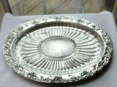 Vintage Godinger Silver Plated 5 part glass Divided Dish, Grape Leaf Pattern! #Godinger