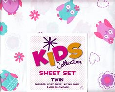 Owl Twin Sheet Set Kids Collection Hearts and Flowers  Polyester One Twin Fitted Sheet One Twin Flat Sheet One Standard Pillow Case $22.38