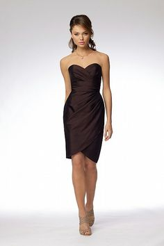 Wtoo Dress 953- shantung surplice strapless above the knee length dress with asymmetrical draped bodice and peg skirt.