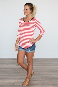 Contrast Trim Striped Bow Back Top - Coral/Navy - Magnolia Boutique