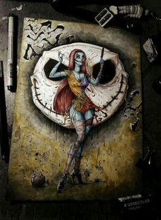 Sally and Jack art by Marcelo Ventura Dark Disney, Disney Art, Arte Horror, Horror Art, Nightmare Before Christmas Quotes, Jack The Pumpkin King, Tim Burton Art, Twisted Disney, Creepy Art