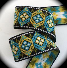 Jacquard Ribbon  2 x 1 yds Black Turquoise and by LesBonRibbon