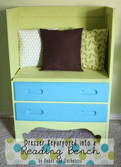 dresser repurposed into a reading bench