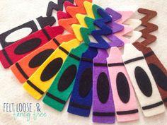Crayon Color Matching Felt Board Set / 20-piece Flannel Board / Preschool Imaginative Play / WoolFelt® / Back to School