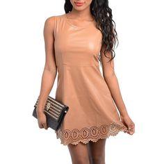 Camel Faux Leather Laser Cut Eyelet Hem Fit Flare Sleeveless Seamed Dress Sz 4…