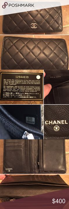 Chanel Caviar Leather Black Quilted Bifold Wallet Near perfect condition!  Shows signs of use but there are only 2 minor areas with actual wear (see photo).  Silver hardware.  Authenticity card, duster and box included.  8 card slots, zipped change purse.  5 slots for cash, checkbook, receipts, etc.  Purchased at Neiman Marcus in Chicago on Michigan Avenue.  Gorgeous!!!!!! CHANEL Bags Wallets