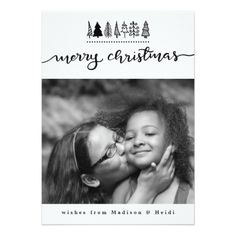 Merry Christmas Typography Modern Photo Card - minimal gifts style template diy unique personalize design