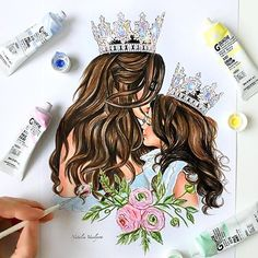 My daughter and me❤️ Mother Daughter Art, Mother Art, Mother And Child, Mothers Day Drawings, Bff Drawings, I Love Mom, Mothers Love, My Baby Girl, Art Girl