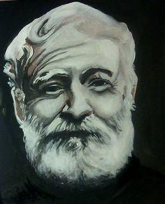 portrait of Ernest Hemingway, akryl on canvas, 30cmx30cm + finish damar dope