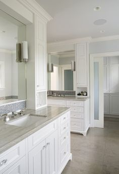 painted face-frame cabinets, mosaic tile, marble counters, frosted glass doors - traditional - bathroom - san francisco - by Mueller Nicholls Cabinets and Construction  Backsplash, full mirror, faucets