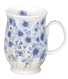 Dunoon - Fine Bone China Mugs - Suffolk Shape : Poppies Blue