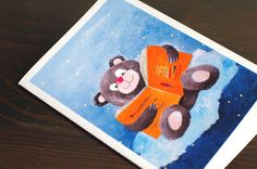 Birthday card - Bear greeting card - Christmas cards - Animals Carte anniversaire - Teddy bear - Holiday greeting card - Good night greeting card - I love