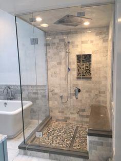 Corner steam shower - Franklin Glass Company Steam Room Shower, Master Bathroom Shower, Beige Bathroom, Steam Showers Bathroom, Corner Shower Tile, Corner Showers, Glass Cabin, Shower Cabin, Master Bath Remodel