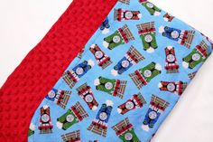 Thomas the Train and Friends -Red Minky Baby Toddler Blanket - Bed Time Nap Time, Play Time Cuddle Time - READY TO SHIP! by JoyfulBundles on Etsy