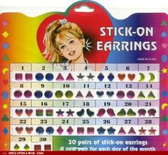 stick on earrings, memori, stickon earring, 90s kids, 1980s books