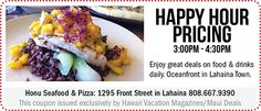 Maui Deals – Find Daily Deals and Coupons Here! Seafood Pizza, Hawaii Vacation, Daily Deals, Maui, Coupons, Beef, Ethnic Recipes, Meat, Coupon
