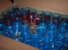 Blue firecracker jello shot 1 c. boiling water, 1/2 c. vodka, 1/2 c. peach schnapps, 3 oz. box blue jello, maraschino cherries with stems (wick for firecracker)