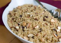 quinoa pilaf with chickpeas, currants, and almonds.  definitely will try this as I have a mostly unused box of TJ quinoa sitting lonely in my cabinet.