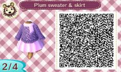 I made another sweater and skirt combo for my mayor. It matches the purple striped hat and purple hair very well! Animal Crossing 3ds, Animal Crossing Qr Codes Clothes, Skull Sweater, New Leaf, Stripes, Coding, Fancy, Purple Hair, Alice