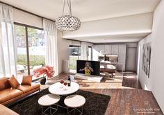 3D Visualisierung des Wohnbereiches mit offener Küche.