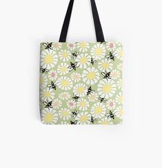 'Summer Bees' Tote Bag by JaanaHalme Designer Totes, Iphone Wallet, Bees, Reusable Tote Bags, Art Prints, Canvas, Printed, Awesome, Summer