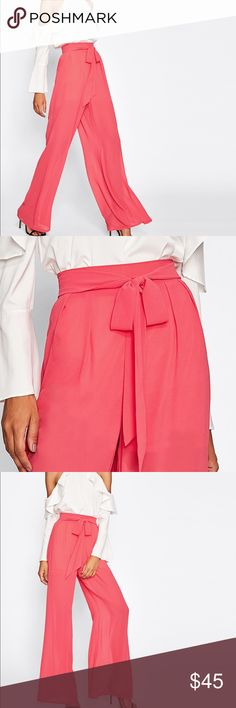 Stunning Chiffon self Belted palazzo pants Item#APB16852129912N measurements see chart above. Waist has elastic stretch in the back. Pants are lined to above knee as to not see through. Pants Wide Leg