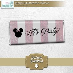 Birthday Party - Minnie Mouse Classy Theme - Printable DIY Chocolate Bar Wrappers (Regular Size)  - Cut out and attach to your favorite chocolate bars with double-sided tape, and that's it!! Easy peasy!