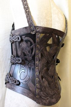 Leather armor corset, Viking design- celtic wolf cut-out design in heavy duty leather. Several sizes available! Leather Bracers, Leather Tooling, Leather Dye, Leather Pouch, Or Antique, Antique Silver, Viking Designs, Lower Back Exercises, Cut Out Design