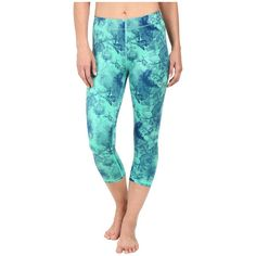 PUMA All Eyes On Me 3/4 Tights (Mint Leaf/Dazzling Blue) ($45) ❤ liked on Polyvore featuring activewear, activewear pants, puma sportswear, puma activewear and athletic sportswear