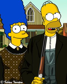 American Gothic: Homer and Marge Simpson