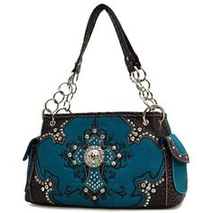 ' Blue Western Rhinestone Cross Handbag' is going up for auction at  6am Mon, Mar 4 with a starting bid of $25.