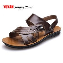 3bdca3059f3 Genuine Leather Shoes Men Sandals 2019 Summer Sandals Man Natural Leather  Shoes Non-slip Male