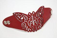 Butterfly laser cut leather bracelet   Laser Cut Leather, Leather ...