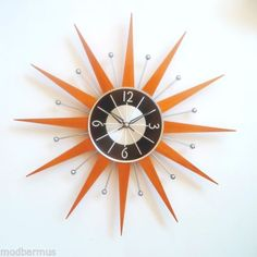 STARBURST-SUNBURST-Ball-atomic-style-CLOCK-MIDCENTURY-danish-MODERN-Star-SUN