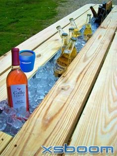 Replace the middle board on a #picnic table with rain gutter and get your #xsboom bluetooth #speaker and start the fun...greatest idea ever