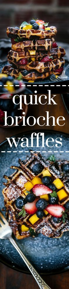 Quick Brioche Waffles - Short on time to make waffle batter? Make these quick…