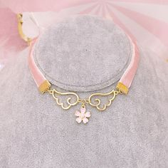 "Pink harajuku wings flower necklace SE9909      Coupon code ""cutekawaii"" for 10% off"