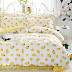 Yellow Lemon Fresh Style Cotton 4-Piece Bedding Sets/Duvet Cover Bedding Sets Online, Luxury Bedding Sets, Comforter Sets, Yellow Room Decor, Yellow Bedding, Yellow Bedrooms, Matching Bedding And Curtains, Bed Linen Design, Aesthetic Bedroom
