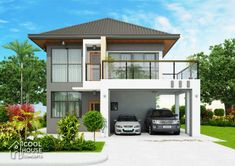 This 4 bedroom modern house is 185 sq. ground floor and 93 sq. second floor) which will require at least 106 sq. Two Story House Design, Two Story House Plans, Garage House Plans, Bedroom House Plans, Small House Design, Car Garage, One Storey House, 2 Storey House Design, Model House Plan