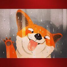 Rainy day #illustration #illustrations #cartoon #funny #dog #rain #raindrops #childrenillustration #digitalart #photoshop #colors #art #artoftheday #artistsoninstagram #funnyfaces